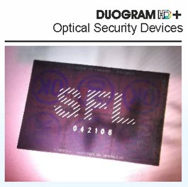 Duogram plus serial number hologram